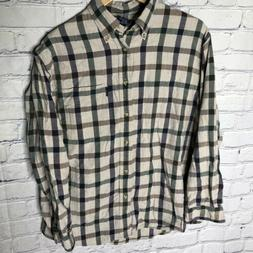 Izod Plaid Flannel Button-Down Single Pocket Long Sleeve Shi