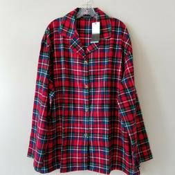 Alexander Del Rossa Plaid Flannel Pajama Top Shirt Red Blue
