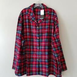Alexander Del Rossa Plaid Flannel Pajama Top Shirt Red Blue