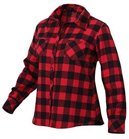 Rothco Women's Plaid Flannel Shirt, Red/Black, Medium