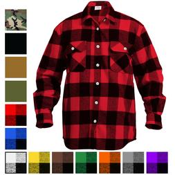 Plaid Flannel Shirt Brawny Buffalo Heavyweight Long Sleeve C