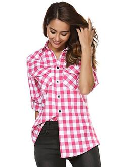 Women's Plaid Flannel Shirt, Roll Up Long Sleeve Checkered C