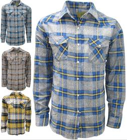 Plaid Flannel Shirt for Men, Long Sleeve Western Style with