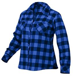 Rothco Women's Plaid Flannel Shirt, Blue/Black, Medium