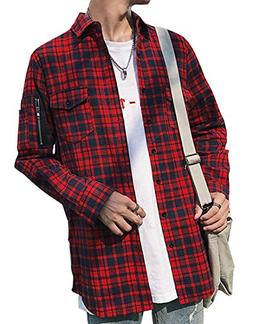 YUNY Mens Plaid Flannel Side Zipper Mid Length Long Sleeve S