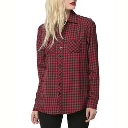 Cool Shantou Plaid Shirt Women's Long Sleeve Flannel Casual