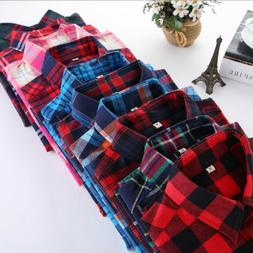 Plaid Shirt College Style Women's Long Sleeve Flannel Casual