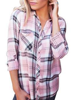 JINTING Ladies Plaid Shirt Long Sleeve Casual Long Button Do