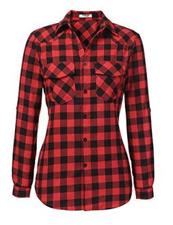 Zeagoo Womens Plaid Shirt, Roll up Sleeve Casual Boyfriend B
