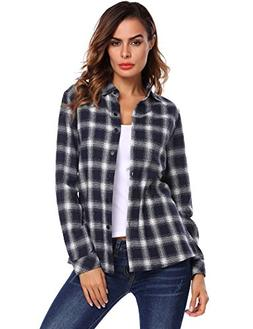 Zeagoo Women's Plaid Shirts Classic Long Sleeves Cotton Hood