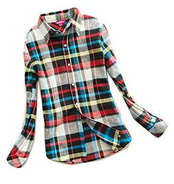 Fulok Womens Plaid Slim Flannel Long Sleeve Button Down Shir