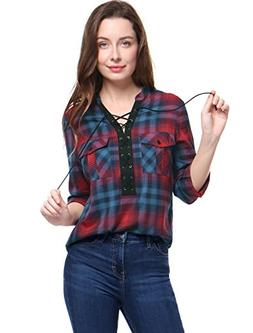 Allegra K Women's Plaids Lace up Front Flap Pockets Long Sle