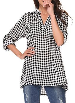 Oyamiki Womens Plus Size Basic Collar Long Sleeve Tartan Pla