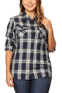 Women's Junior Plus Button Down Plaid/Checker Flannel Shirts