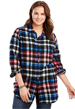 Women's Plus Size Classic Flannel Bigshirt Black Multi Plaid