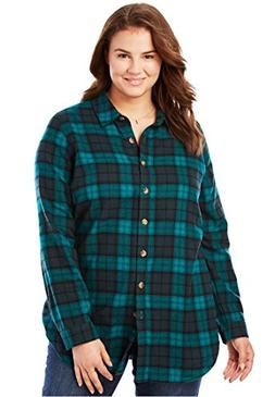 Women's Plus Size Classic Flannel Bigshirt Rich Jade Plaid,2