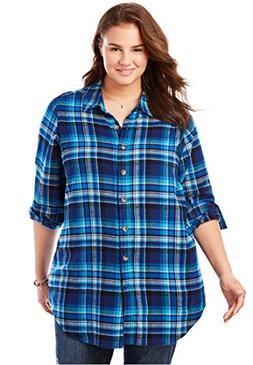 Women's Plus Size Classic Flannel Bigshirt Bright Cobalt Pla