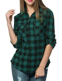Oyamiki Womens Long Sleeve Collared Button Down Plaid Flanne