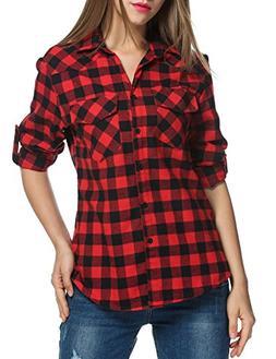 Dicesnow Women's Plus Size Long Sleeve Button Down Plaid Shi