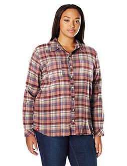 Dickies Women's Plus Size Long-Sleeve Plaid Flannel Shirt, C