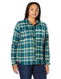 Dickies Women's Plus Size Long-Sleeve Plaid Flannel Shirt, S