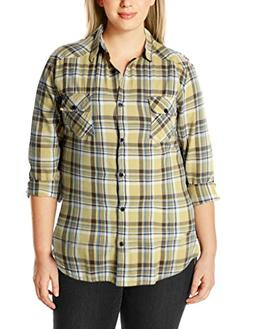 Match Women's Plus Size Long Sleeve Plaid Shirt