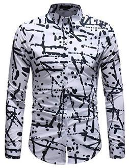 XTAPAN Men Printed Dress Shirt-Slim Fit Long Sleeve Button D