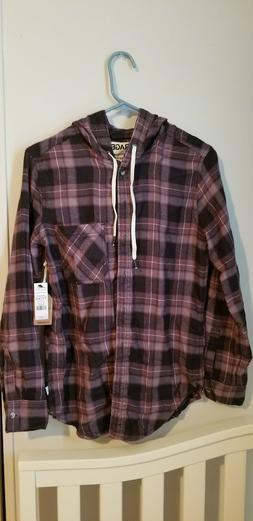 Purple Long Sleeve Hoodie Flannel Button Down Shirt Plaid Ch