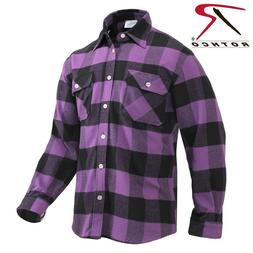 Purple Plaid Men's Heavyweight Brawny Buffalo Plaid Flannel