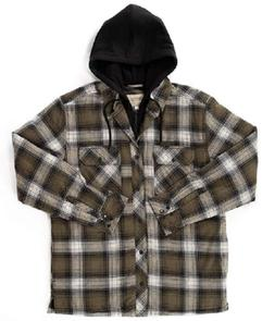 Boston Traders Quilted Lining Flannel Button Front Hooded Sh