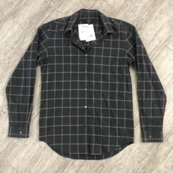 Theory Rammy Charcoal Grid Flannel Shirt Size XS