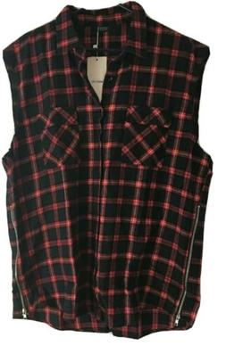 Coofandy Red Plaid Flannel Vest Mens size 3XL Hipster Sleeve