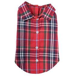 The Worthy Dog Red Plaid Shirt, Red Multi, XL