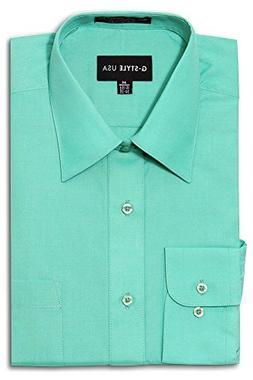 G-Style USA Men's Regular Fit Long Sleeve Solid Color Dress