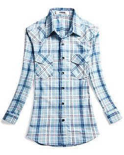 OCHENTA Women's Regular Fit Roll-Up Sleeve Button Down Plaid