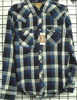 Wrangler Retro Mens Flannel Long Sleeve Western Plaid Shirt,