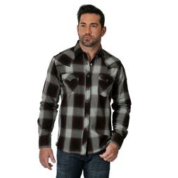 Wrangler Retro Mens Plaid Flannel Shirt in Burgundy, Blue, R