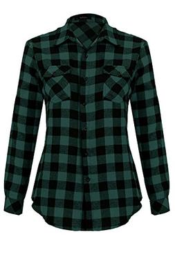 roll long sleeve plaid button