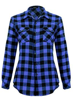 Mixfeer Women's Roll Up Long Sleeve Plaid Button Down Casual