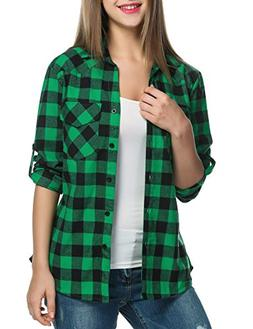 cindere Women's Roll Up Long Sleeve Plaids Buttoned Casual B