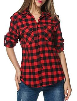 Genhoo Women's Roll Up Long Sleeve Tartan Plaid Collared But