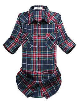 OCHENTA Women's Roll Up Sleeve Flannel Plaid Shirt C016 Navy