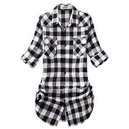 OCHENTA Women's Roll up Sleeve Flannel Plaid Shirt C055 Blac