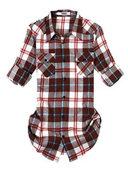 OCHENTA Women's Roll Up Sleeve Flannel Plaid Shirt C010 Coff