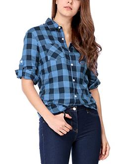 Allegra K Women's Roll up Sleeves Button Placket Plaid Shirt