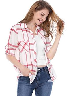 Allegra K Women's Roll up Sleeves Buttoned Tunic Plaids Shir