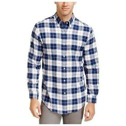 John Ashford Mens Royce Flannel Plaid Button-Down Shirt Blue