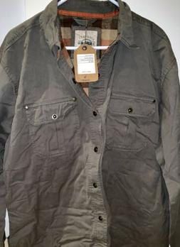 Gioberti's Brushed  Twill Rugged Shirt Jacket with Flannel L