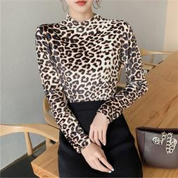 Sexy Leopard Print Long Sleeve T <font><b>Shirt</b></font> W