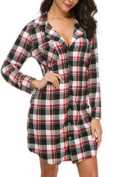 NORA TWIPS Women's Sexy Long Sleeve Nightshirt Red Plaid P